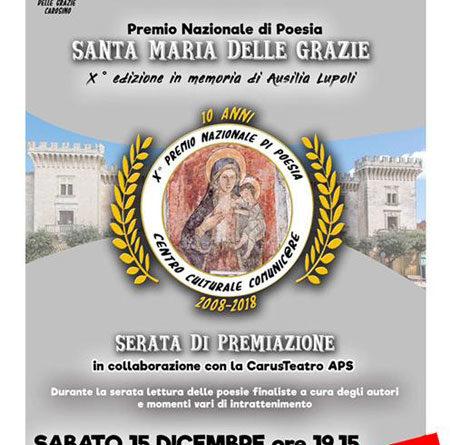 """Premio Nazionale di Poesia """"S. Maria delle Grazie"""" –  Serata finale sabato 15 dicembre"""